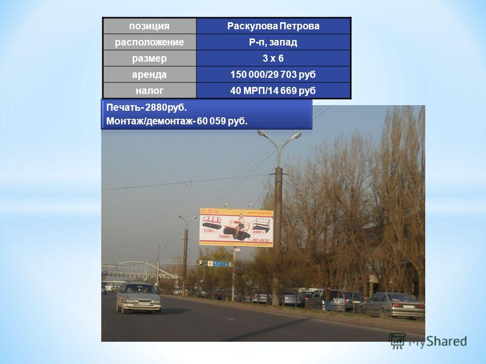 позиция Раскулова Петрова расположениеР-п, запад размер 3 х 6 аренда 150 000/29 703 руб налог 40 МРП/14 669 руб
