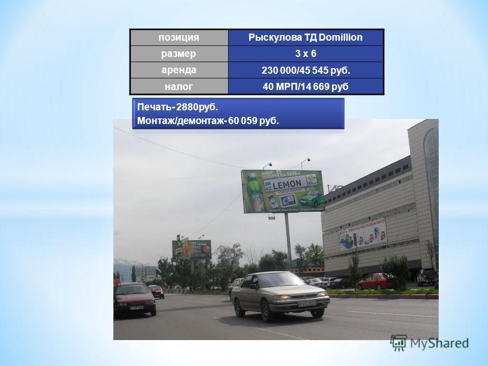позиция Рыскулова ТД Domillion размер 3 х 6 аренда 230 000/45 545 руб. налог 40 МРП/14 669 руб