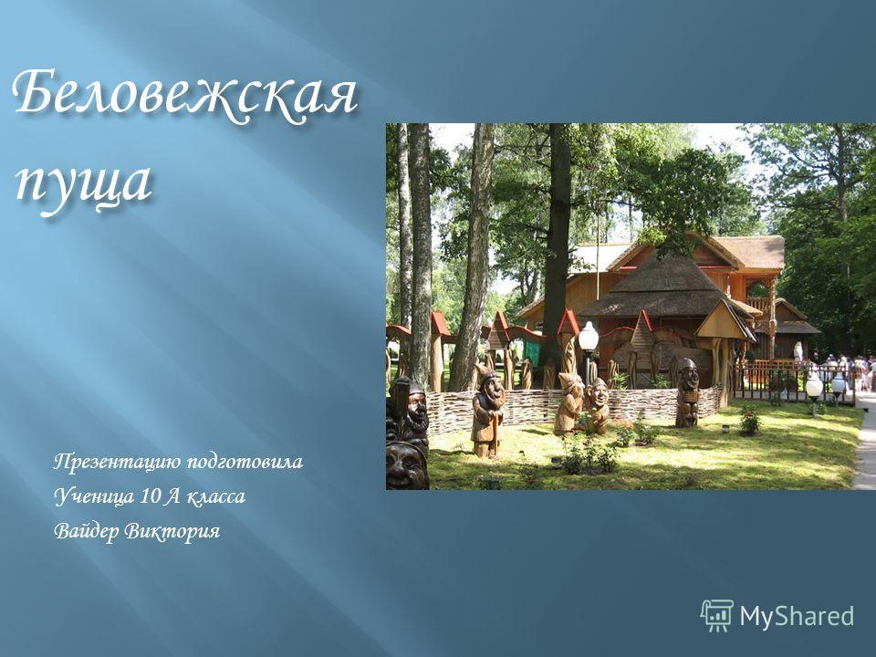 Беловежская пуща Презентацию подготовила Ученица 10 А класса Вайдер Виктория