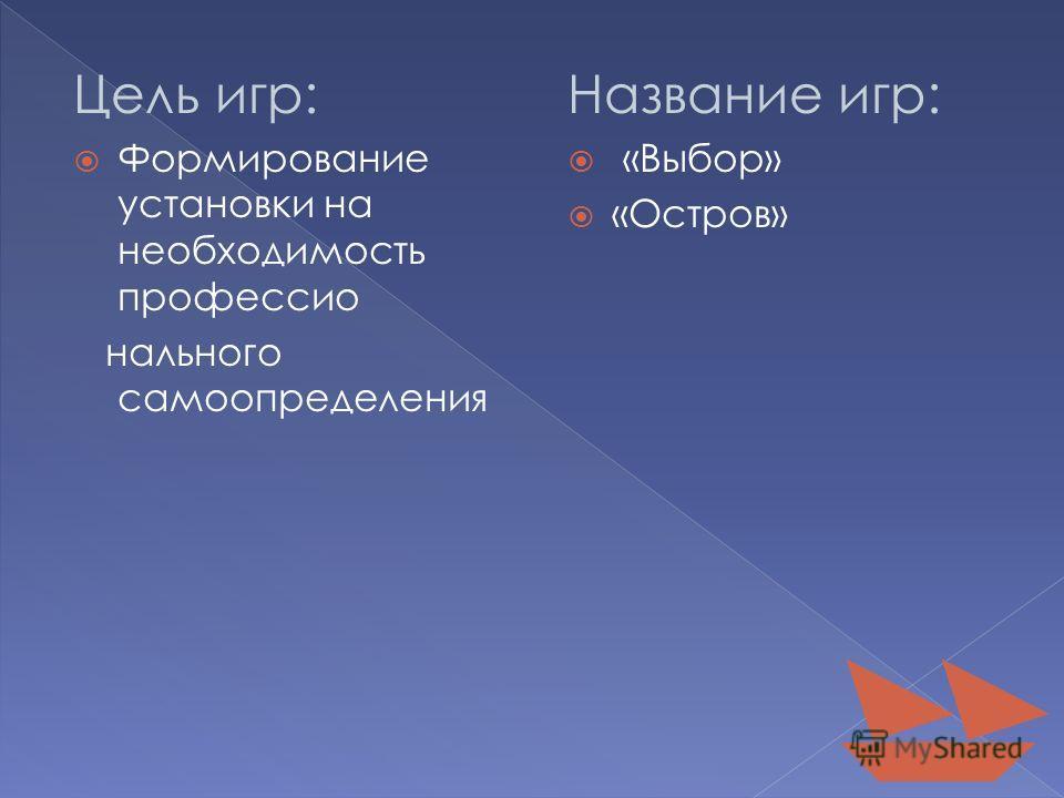Цель игр: Формирование установки на необходимость профессионального самоопределения Название игр: «Выбор» «Остров»