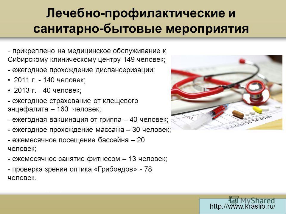 - прикреплено на медицинское обслуживание к Сибирскому клиническому центру 149 человек; - ежегодное прохождение диспансеризации: 2011 г. - 140 человек; 2013 г. - 40 человек; - ежегодное страхование от клещевого энцефалита – 160 человек; - ежегодная в