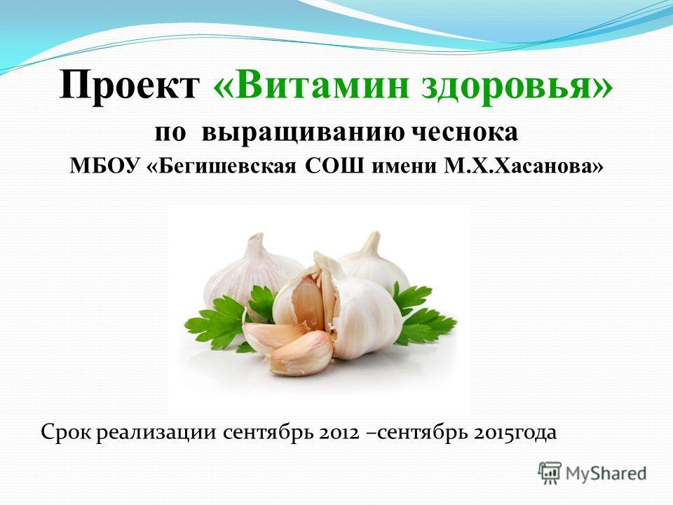Проект «Витамин здоровья» по выращиванию чеснока МБОУ «Бегишевская СОШ имени М.Х.Хасанова» «Я«Срок реализации 3 года Срок реализации сентябрь 2012 –сентябрь 2015 года