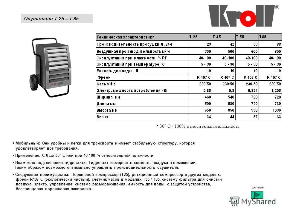 Осушители T 25 – T 85 * 30° C / 100% относительная влажность Мобильный: Они удобны и легки для транспорта и имеют стабильную структуру, которая удовлетворяет все требования. Применение: С 0 до 35° C или при 40-100 % относительной влажности. Возможно