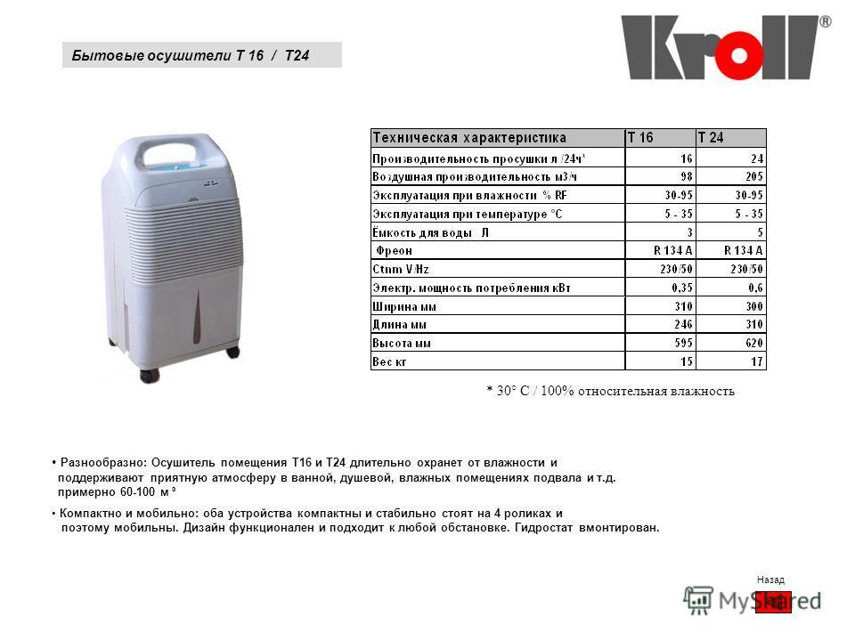 Бытовые осушители T 16 / T24 Назад * 30° C / 100% относительная влажность Разнообразно: Осушитель помещения T16 и T24 длительно охраняет от влажности и поддерживают приятную атмосферу в ванной, душевой, влажных помещениях подвала и т.д. примерно 60-1