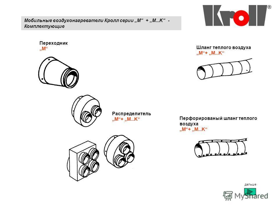 Мобильные воздухонагреватели Кролл серии M + M...K - Комплектующие Переходник M Распределитель M+ M...K Шланг теплого воздуха M+ M...K Перфорированый шланг теплого воздуха M+ M...K дальше