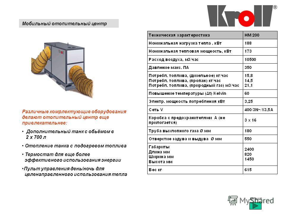 Мобильный отопительный центр Различные комрлектующие оборудования делают отопительный центр еще привлекательнее: Дополнительный танк с обьёмом в 2 x 700 л Отопление танка с подогревом топлива Термостат для еще более эффективного использования энергии