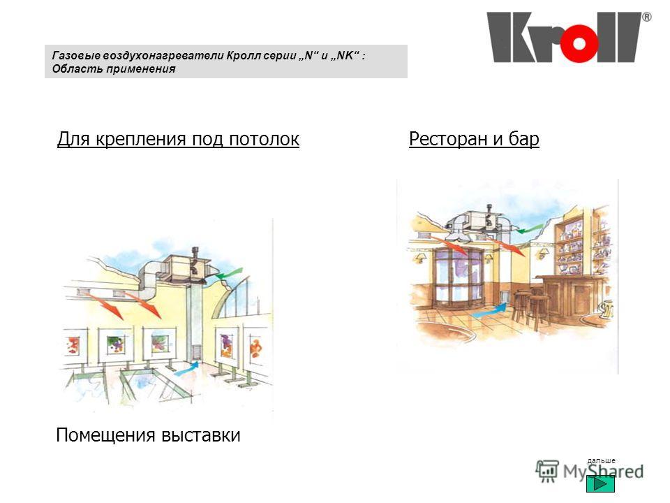 Газовые воздухонагреватели Кролл серии N и NK : Область применения Помещения выставки Ресторан и бар Для крепления под потолок дальше