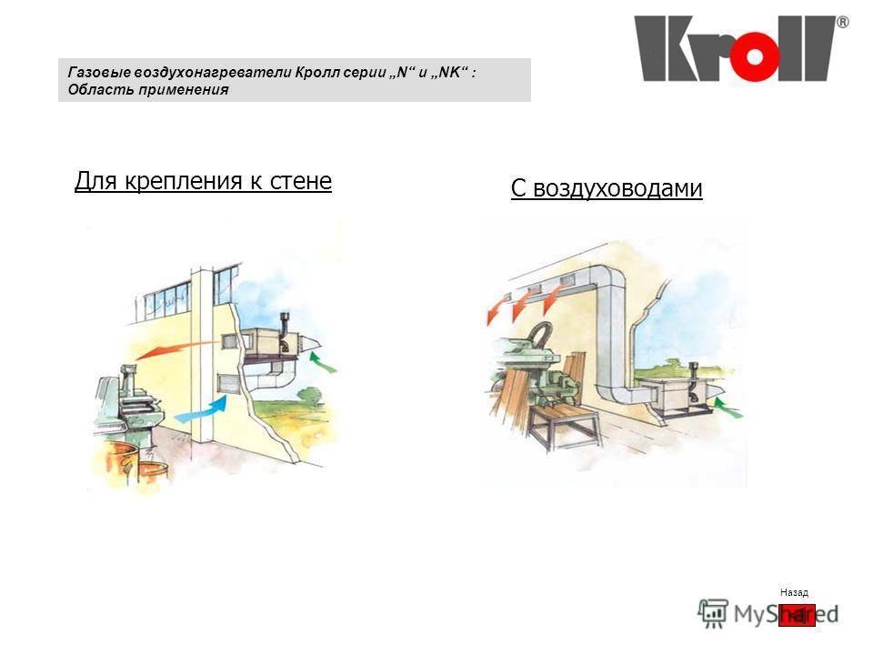 Для крепления к стене С воздуховодами Назад Газовые воздухонагреватели Кролл серии N и NK : Область применения