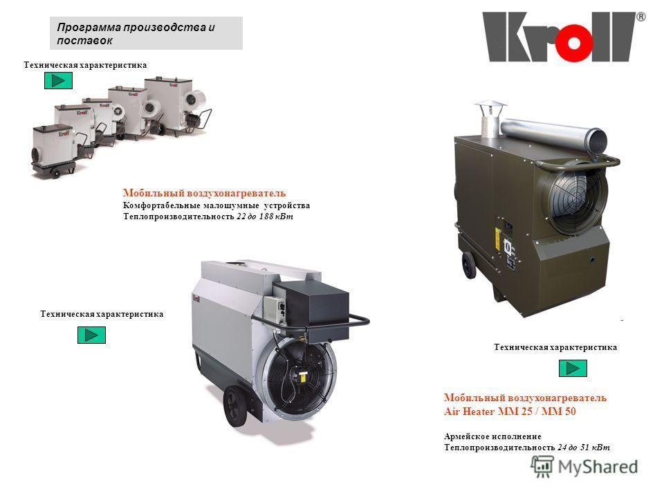 Программа производства и поставок Мобильный воздухонагреватель Комфортабельные малошумные устройства Теплопроизводительность 22 до 188 к Вт Техническая характеристика Мобильный воздухонагреватель Air Heater MM 25 / MM 50 Армейское исполнение Теплопро