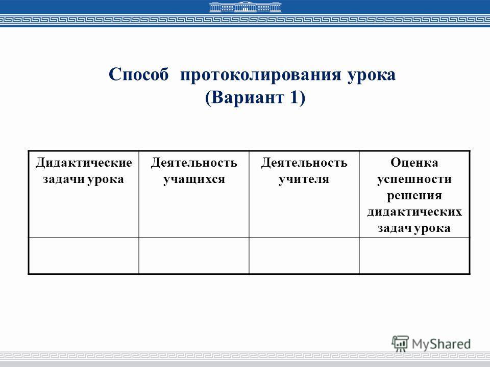 Способ протоколирования урока (Вариант 1) Дидактические задачи урока Деятельность учащихся Деятельность учителя Оценка успешности решения дидактических задач урока