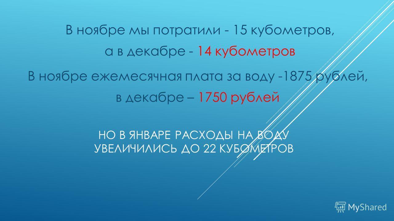 НО В ЯНВАРЕ РАСХОДЫ НА ВОДУ УВЕЛИЧИЛИСЬ ДО 22 КУБОМЕТРОВ В ноябре мы потратили - 15 кубометров, а в декабре - 14 кубометров В ноябре ежемесячная плата за воду -1875 рублей, в декабре – 1750 рублей