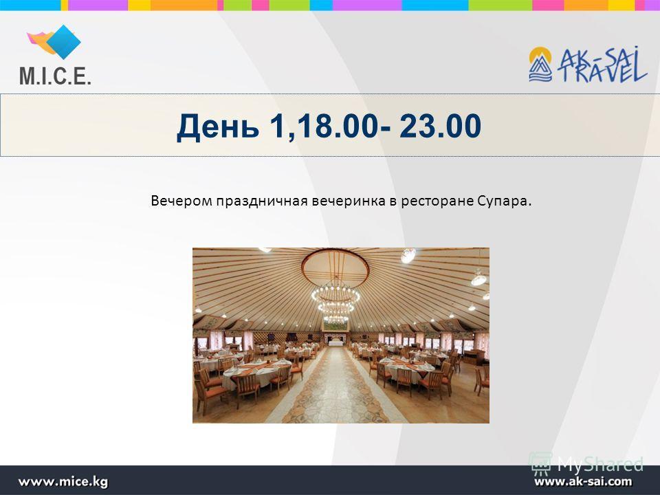 День 1,18.00- 23.00 Вечером праздничная вечеринка в ресторане Супара.
