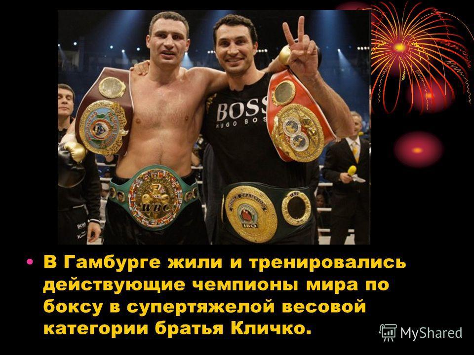 В Гаямбурге жили и тренировались действующие чемпионы мира по боксу в супертяжелой весовой категории братья Кличко.