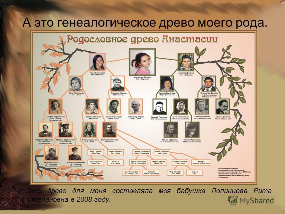 А это генеалогическое древо моего рода. Это древо для меня составляла моя бабушка Лопинцева Рита Степановна в 2008 году.
