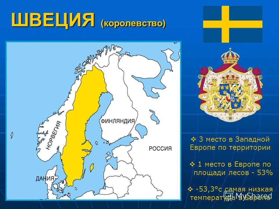 ШВЕЦИЯ (королевство) 3 место в Западной Европе по территории 1 место в Европе по площади лесов - 53% -53,3°с самая низкая температура в Европе