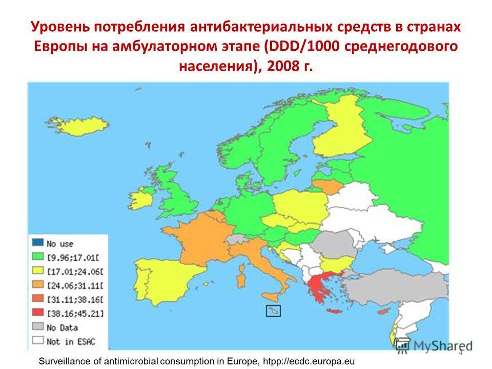 Уровень потребления антибактериальных средств в странах Европы на амбулаторном этапе (DDD/1000 среднегодового населения), 2008 г. 14