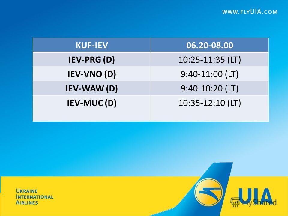 KUF-IEV06.20-08.00 IEV-PRG (D)10:25-11:35 (LT) IEV-VNO (D)9:40-11:00 (LT) IEV-WAW (D)9:40-10:20 (LT) IEV-MUC (D)10:35-12:10 (LT)