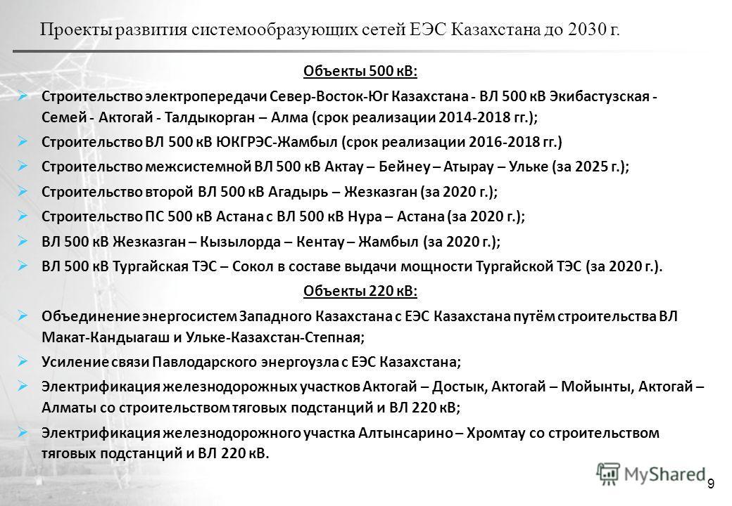 Проекты развития системообразующих сетей ЕЭС Казахстана до 2030 г. 9 Объекты 500 кВ: Строительство электропередачи Север-Восток-Юг Казахстана - ВЛ 500 кВ Экибастузская - Семей - Актогай - Талдыкорган – Алма (срок реализации 2014-2018 гг.); Строительс