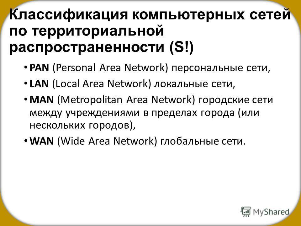 Классификация компьютерных сетей по территориальной распространенности (S!) PAN (Personal Area Network) персональные сети, LAN (Local Area Network) локальные сети, MAN (Metropolitan Area Network) городские сети между учреждениями в пределах города (и
