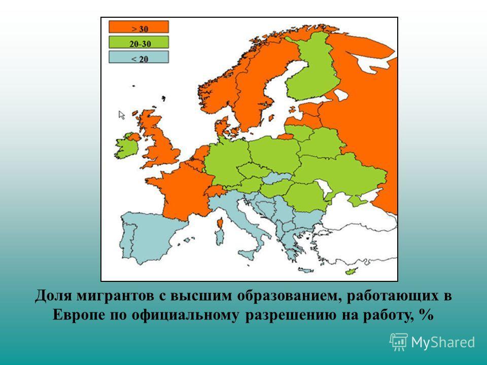 Доля мигрантов с высшим образованием, работающих в Европе по официальному разрешению на работу, %