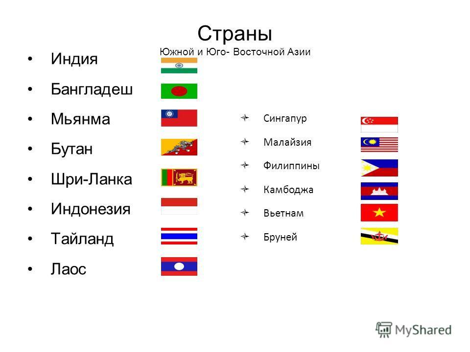 Страны Южной и Юго- Восточной Азии Индия Бангладеш Мьянма Бутан Шри-Ланка Индонезия Тайланд Лаос Сингапур Малайзия Филиппины Камбоджа Вьетнам Бруней