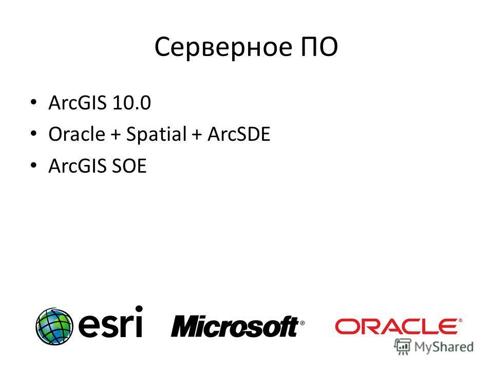 Серверное ПО ArcGIS 10.0 Oracle + Spatial + ArcSDE ArcGIS SOE