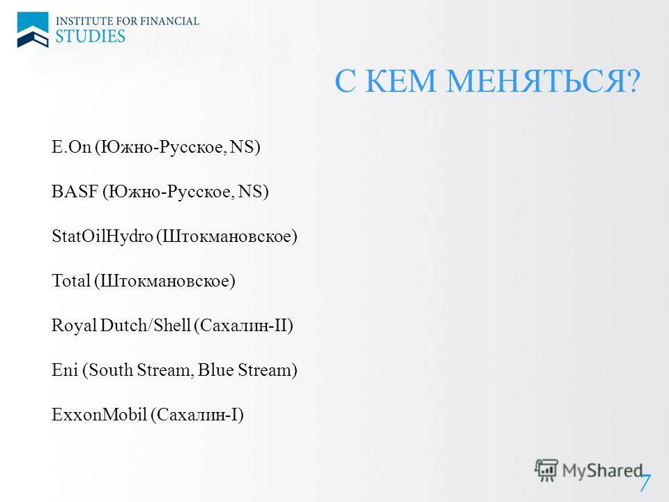 8 С КЕМ МЕНЯТЬСЯ? 7 E.On (Южно-Русское, NS) BASF (Южно-Русское, NS) StatOilHydro (Штокмановское) Total (Штокмановское) Royal Dutch/Shell (Сахалин-II) Eni (South Stream, Blue Stream) ExxonMobil (Сахалин-I)