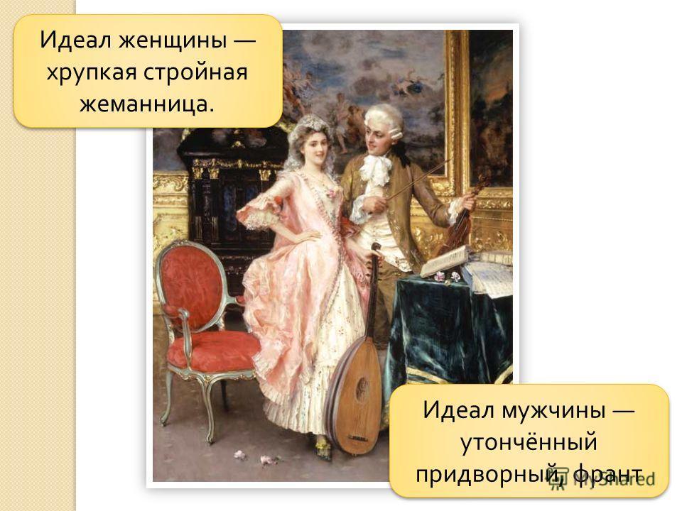 Идеал мужчины утончённый придворный, франт Идеал женщины хрупкая стройная жеманница.