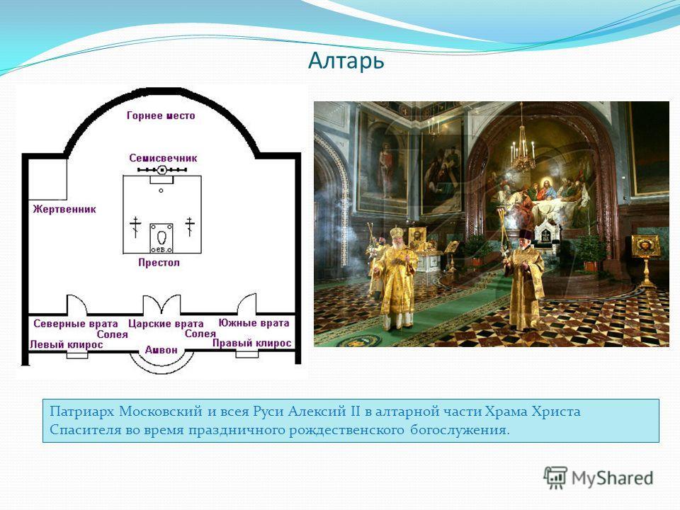 Алтарь Патриарх Московский и всея Руси Алексий II в алтарной части Храма Христа Спасителя во время праздничного рождественского богослужения.