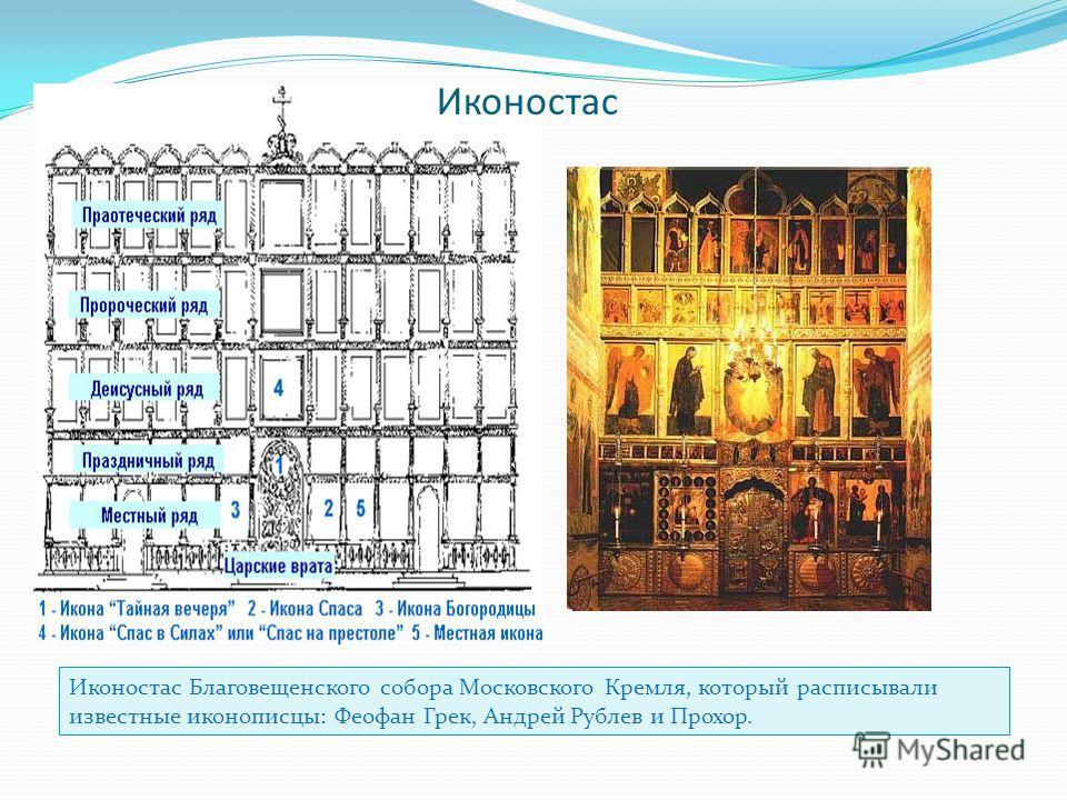 Иконостас Иконостас Благовещенского собора Московского Кремля, который расписывали известные иконописцы: Феофан Грек, Андрей Рублев и Прохор.