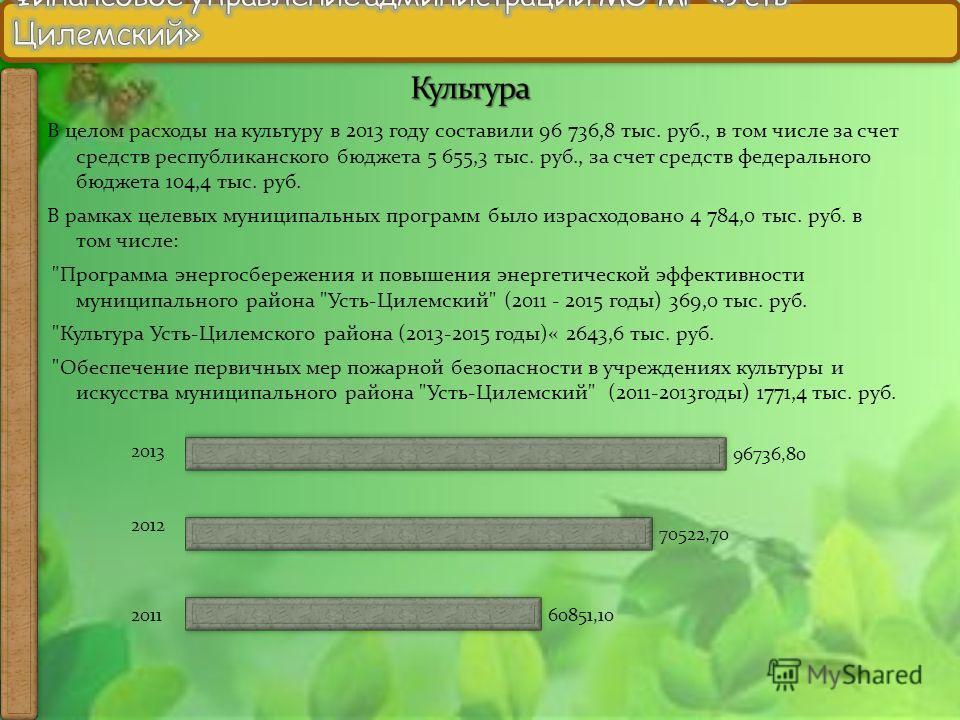 В целом расходы на культуру в 2013 году составили 96 736,8 тыс. руб., в том числе за счет средств республиканского бюджета 5 655,3 тыс. руб., за счет средств федерального бюджета 104,4 тыс. руб. В рамках целевых муниципальных программ было израсходов