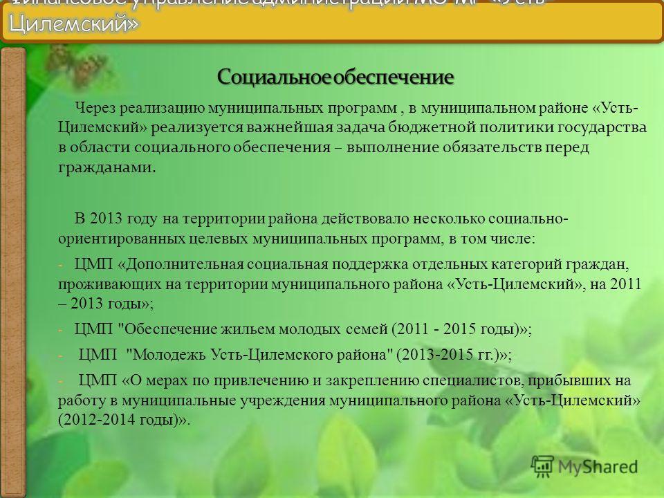 Через реализацию муниципальных программ, в муниципальном районе «Усть- Цилемский» реализуется важнейшая задача бюджетной политики государства в области социального обеспечения – выполнение обязательств перед гражданами. В 2013 году на территории райо