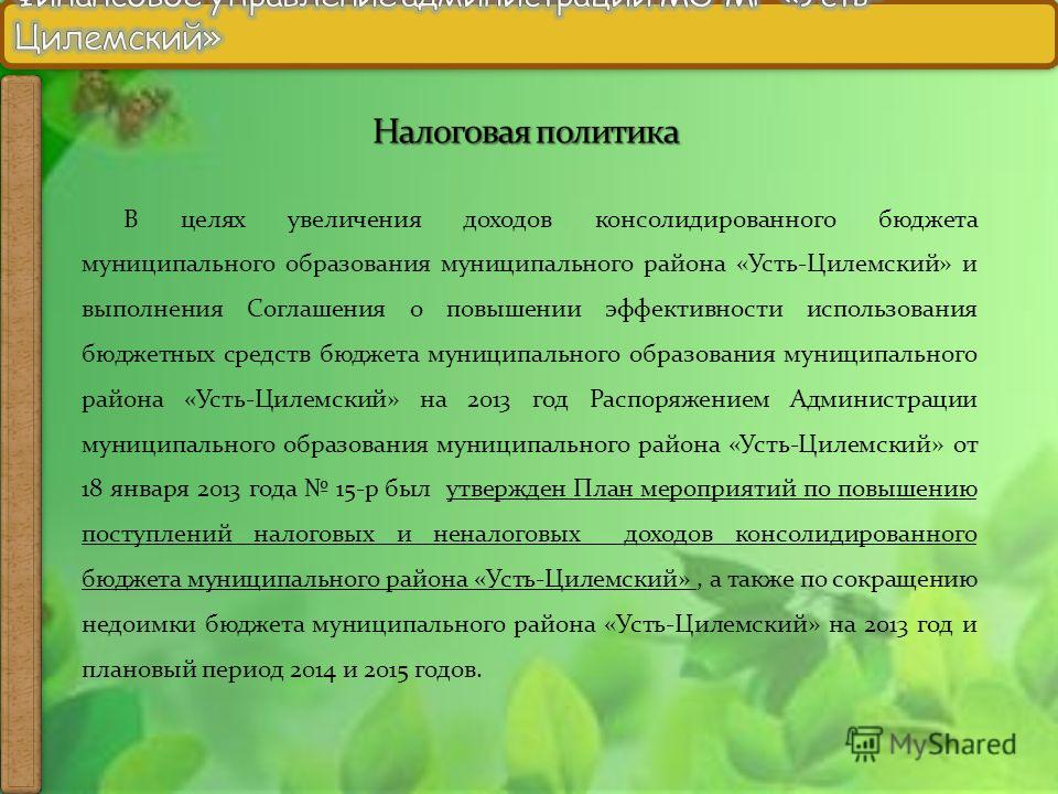 В целях увеличения доходов консолидированного бюджета муниципального образования муниципального района «Усть-Цилемский» и выполнения Соглашения о повышении эффективности использования бюджетных средств бюджета муниципального образования муниципальног