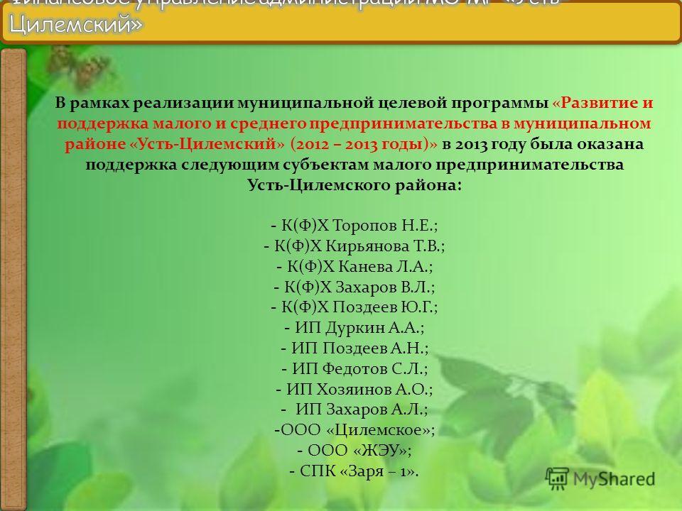 В рамках реализации муниципальной целевой программы «Развитие и поддержка малого и среднего предпринимательства в муниципальном районе «Усть-Цилемский» (2012 – 2013 годы)» в 2013 году была оказана поддержка следующим субъектам малого предпринимательс