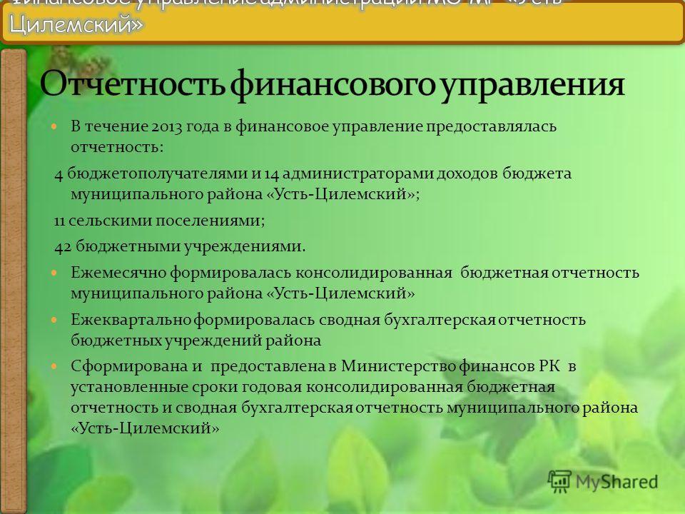 В течение 2013 года в финансовое управление предоставлялась отчетность: 4 бюджетополучателями и 14 администраторами доходов бюджета муниципального района «Усть-Цилемский»; 11 сельскими поселениями; 42 бюджетными учреждениями. Ежемесячно формировалась