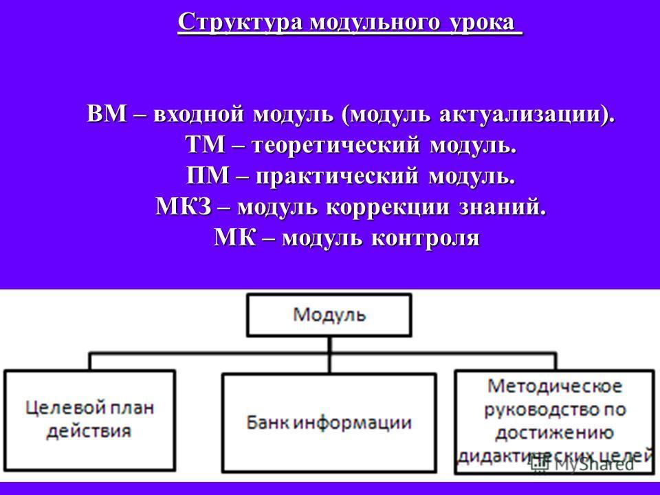 Структура модульного урока ВМ – входной модуль (модуль актуализации). ТМ – теоретический модуль. ПМ – практический модуль. МКЗ – модуль коррекции знаний. МК – модуль контроля