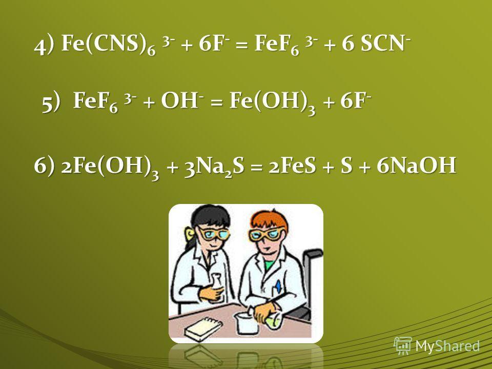 4) Fe(CNS) 6 3- + 6F - = FeF 6 3- + 6 SCN - 5) FeF 6 3- + OH - = Fe(OH) 3 + 6F - 6) 2Fe(OH) 3 + 3Na 2 S = 2FeS + S + 6NaOH