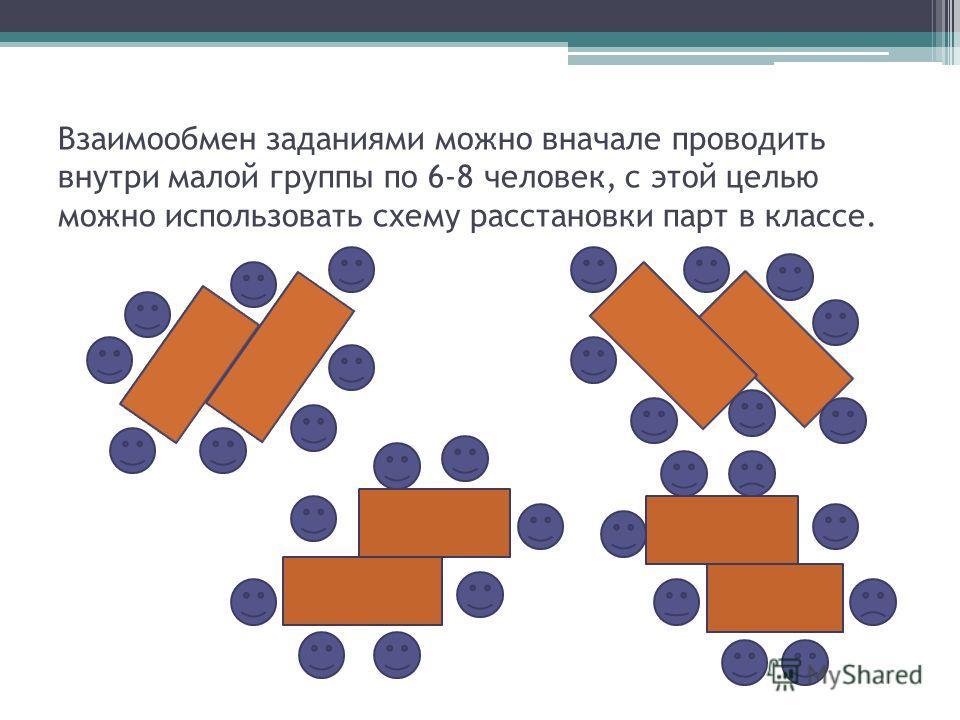 Взаимообмен заданиями можно вначале проводить внутри малой группы по 6-8 человек, с этой целью можно использовать схему расстановки парт в классе.