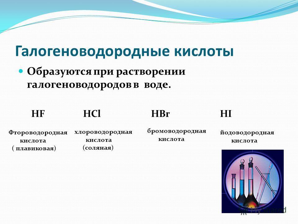 Галогеноводородные кислоты Образуются при растворении галогеноводородов в воде. HF HCl HBr HI Фтороводородная кислота ( плавиковая) хлороводородная кислота (соляная) бромоводородная кислота йодоводородная кислота
