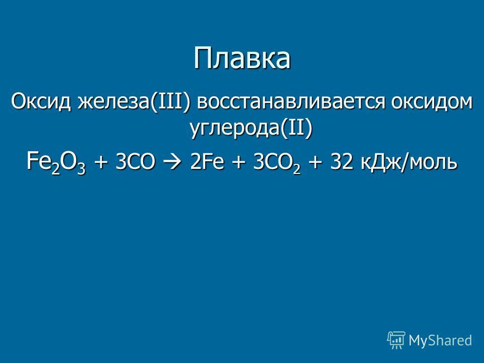 Плавка Оксид железа(III) восстанавливается оксидом углерода(II) Fe 2 O 3 + 3СО 2Fe + 3СО 2 + 32 к Дж/моль