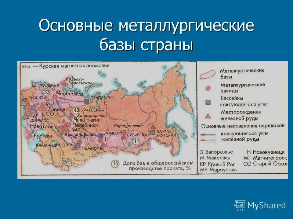 Основные металлургические базы страны