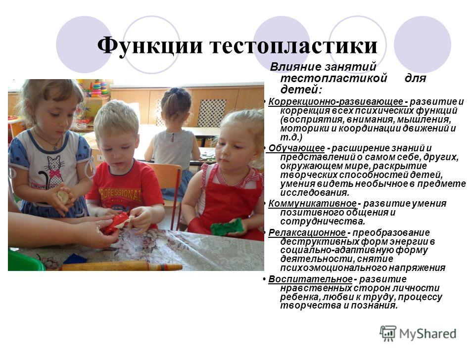 Функции тестопластики Влияние занятий тестопластикой для детей: Коррекционно-развивающее - развитие и коррекция всех психических функций (восприятия, внимания, мышления, моторики и координации движений и т.д.) Обучающее - расширение знаний и представ
