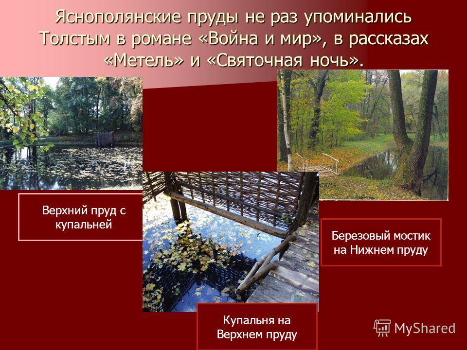 Яснополянские пруды не раз упоминались Толстым в романе «Война и мир», в рассказах «Метель» и «Святочная ночь». Верхний пруд с купальней Березовый мостик на Нижнем пруду Купальня на Верхнем пруду