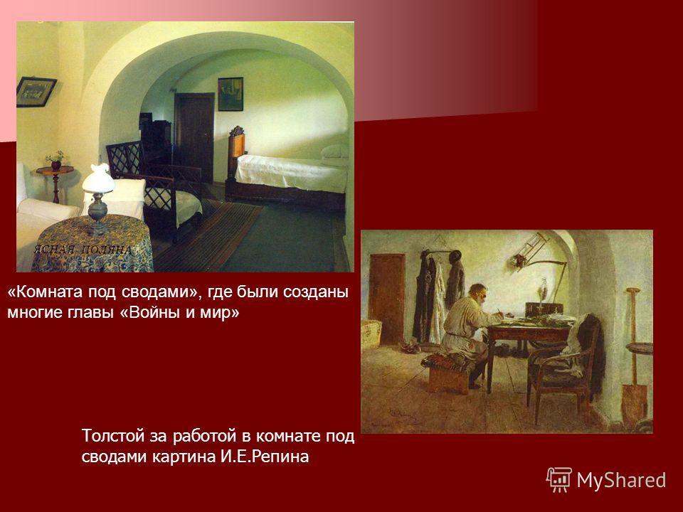 «Комната под сводами», где были созданы многие главы «Войны и мир» Толстой за работой в комнате под сводами картина И.Е.Репина
