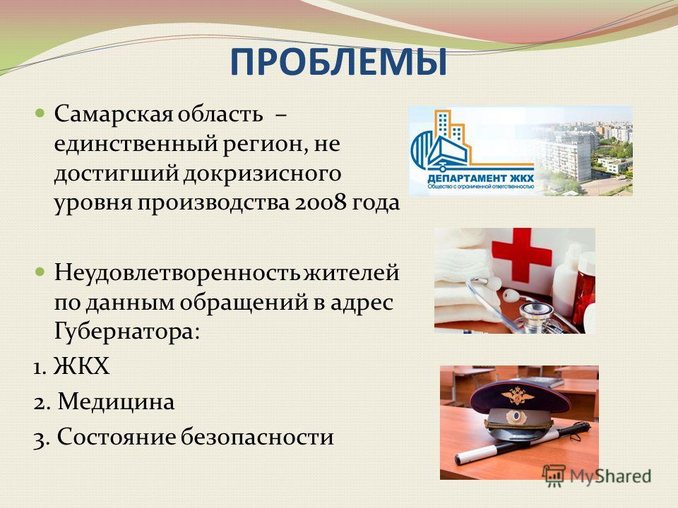 ПРОБЛЕМЫ Самарская область – единственный регион, не достигший докризисного уровня производства 2008 года Неудовлетворенность жителей по данным обращений в адрес Губернатора: 1. ЖКХ 2. Медицина 3. Состояние безопасности