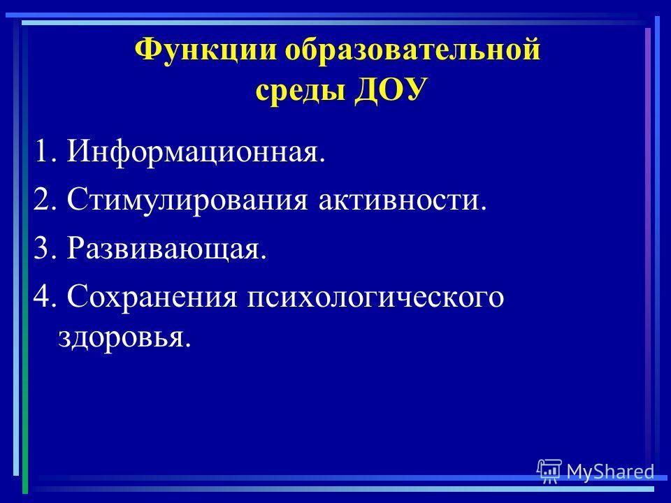 Функции образовательной среды ДОУ 1. Информационная. 2. Стимулирования активности. 3. Развивающая. 4. Сохранения психологического здоровья.