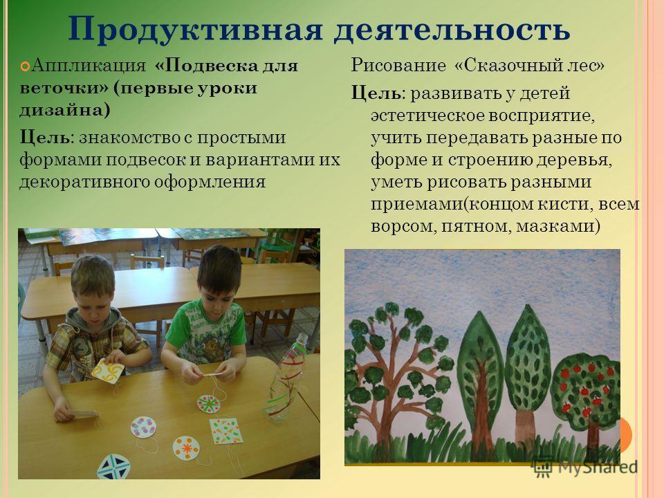Продуктивная деятельность Аппликация «Подвеска для веточки» (первые уроки дизайна) Цель : знакомство с простыми формами подвесок и вариантами их декоративного оформления Рисование «Сказочный лес» Цель : развивать у детей эстетическое восприятие, учит