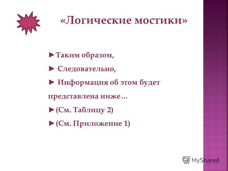 «Логические мостики» Таким образом, Следовательно, Информация об этом будет представлена ниже… (См. Таблицу 2) (См. Приложение 1)