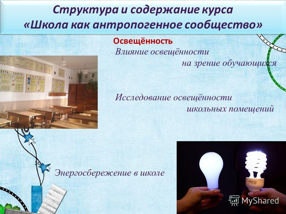 Влияние освещённости на зрение обучающихся Исследование освещённости школьных помещений Освещённость Энергосбережение в школе Структура и содержание курса «Школа как антропогенное сообщество» Структура и содержание курса «Школа как антропогенное сооб