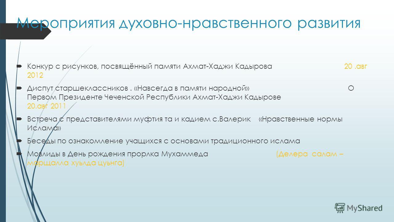 Мероприятия духовно-нравственного развития Конкур с рисунков, посвящённый памяти Ахмат-Хаджи Кадырова 20. авг 2012 Диспут старшеклассников. «Навсегда в памяти народной» О Первом Президенте Чеченской Республики Ахмат-Хаджи Кадырове 20. авг 2011 Встреч